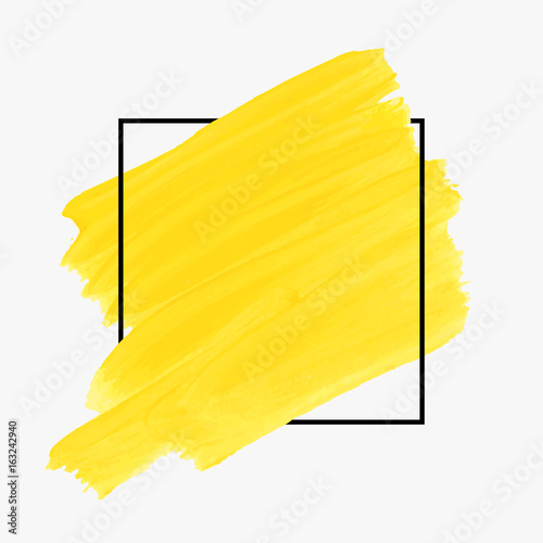 Fotografía Art abstract background brush paint texture design acrylic stroke poster over square frame illustration vector