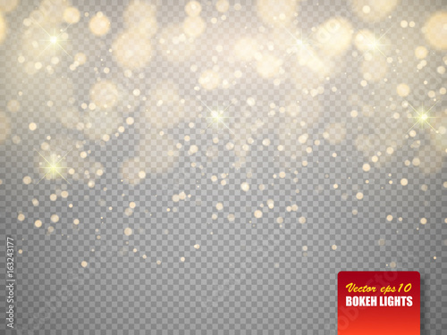 Fotografiet Golden bokeh lights with glowing particles isolated. Vector