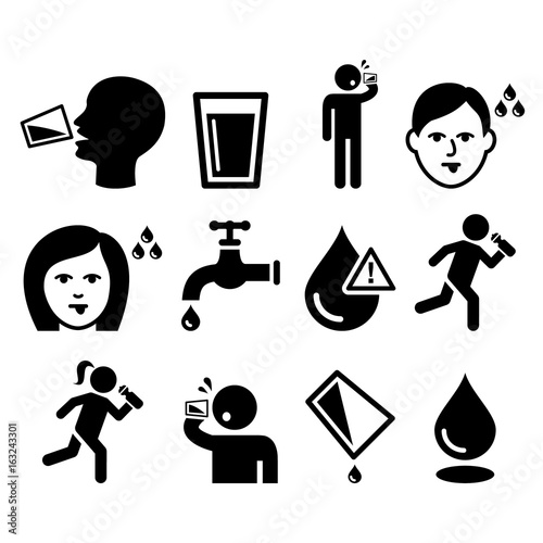 Canvas-taulu Thirsty man, dry mouth, thirst, people drinking water icons set
