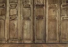 The Retro Style Door. Thai Style Vintage Wooden Door Not Wood Stain. The Door Made Of Teak Wood (Tectona Grandis) Is Auspicious Tree In Thailand
