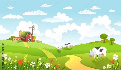 In de dag Lime groen Vector illustration of beautiful landscape with farm.