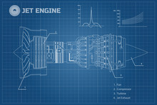 Jet Engine In A Outline Style....