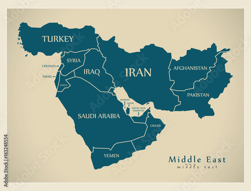Modern Map - Middle East with countries illustration ...