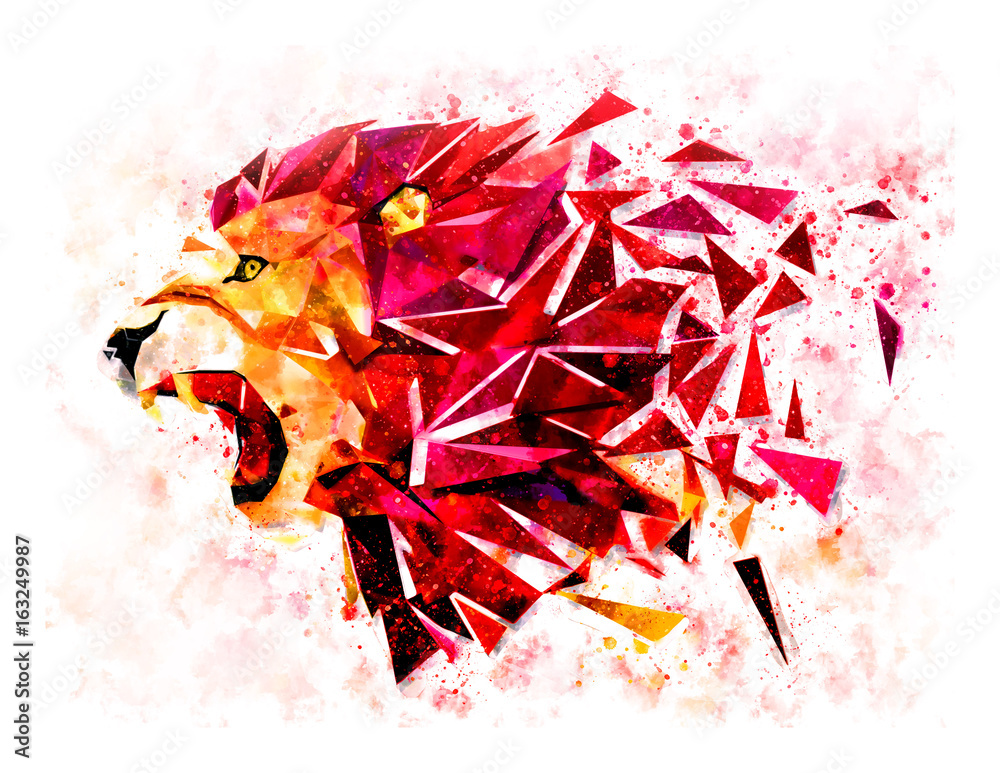 Low polygon lion geometric pattern explode. water color filter. LION ANGRY