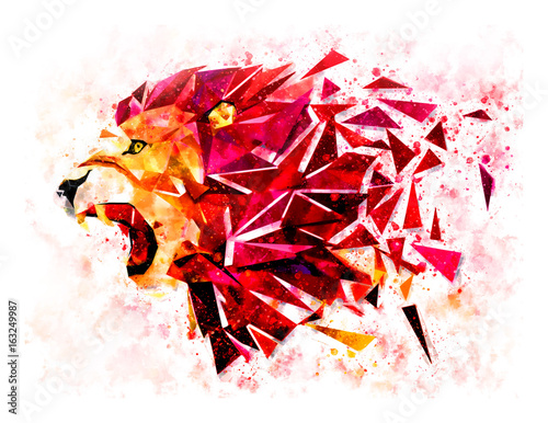 Foto op Aluminium Leeuw Low polygon lion geometric pattern explode. water color filter. LION ANGRY