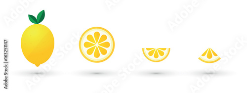 Fotografia, Obraz  lemon fruit slice abstract icon set