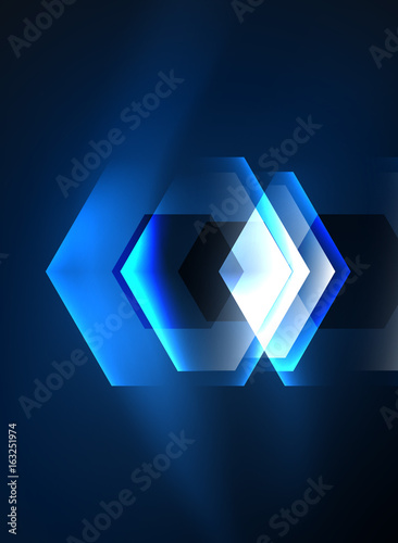 Fototapety, obrazy: Techno glowing glass hexagons vector background
