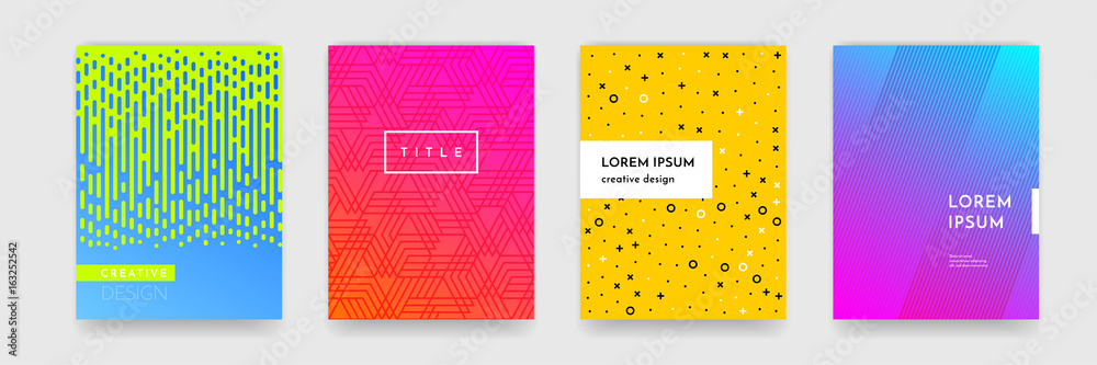 Fototapeta Color gradient abstract geometric pattern texture for book cover template vector set