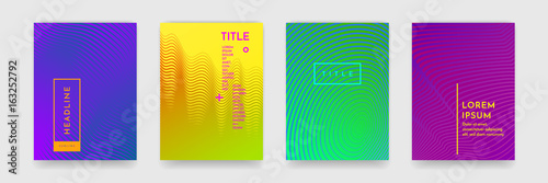 Fototapeta Color gradient abstract geometric pattern texture for book cover template vector set obraz