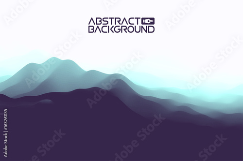 Tuinposter Aubergine 3D landscape Abstract blue Background. Blue Gradient Vector Illustration.Computer Art Design Template. Landscape with Mountain Peaks
