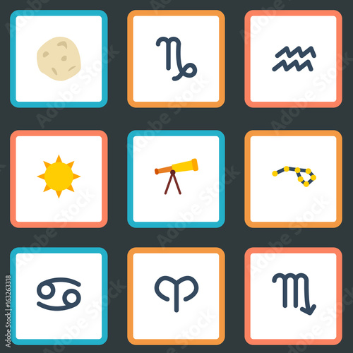 Flat Icons Crab, Water Bearer, Comet And Other Vector