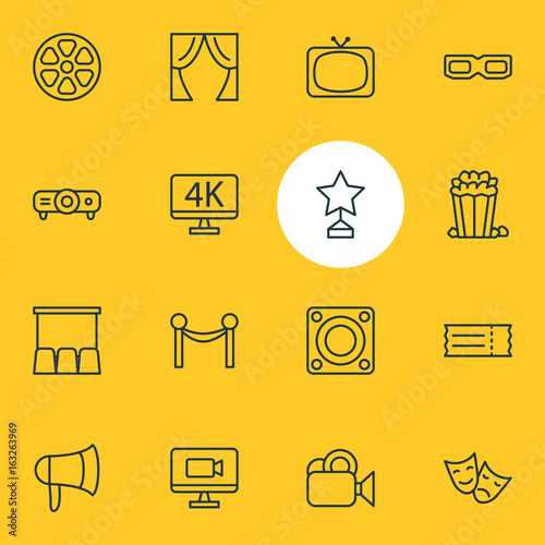 Fotografía  Vector Illustration Of 16 Cinema Icons