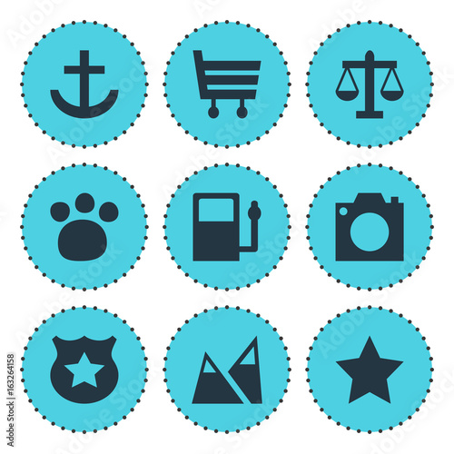 Spoed Foto op Canvas Turkoois Vector Illustration Of 9 Check-In Icons. Editable Pack Of Shopping Cart, Landscape, Scales Elements.