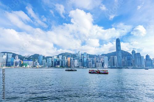 Poster Oceanië Skyline panorama Victoria Harbor of Hong Kong