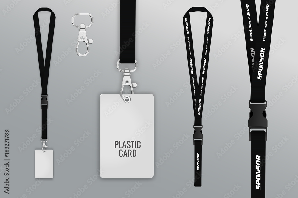 Fototapety, obrazy: Set of lanyard and badge. Template for presentation of their design. Realistic vector illustration