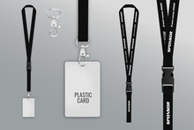 Set Of Lanyard And Badge. Template For Presentation Of Their Design. Realistic Vector Illustration