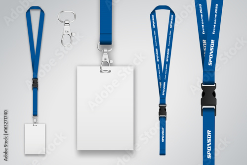Set of lanyard and badge. Template for presentation of their design ...