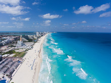 Drone View Of Cancun Mexico- Beautiful Daytime View Of Water And Land