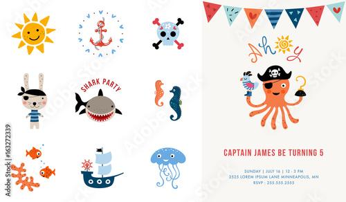 Pirate Birthday Invitation. Vector illustration. Wallpaper Mural