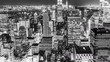 Time Lapse Aerial View over Manhattan New York City at Night in Black and White