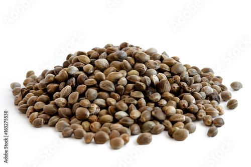 Heap of hemp seeds isolated on white.