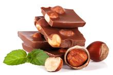 Chocolate With Hazelnut And Mint Leaf Isolated On White Background