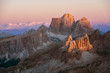 Sunset over dolomite mountain peak, Italy