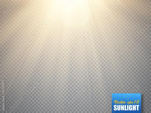 Fotografie, Obraz  Sun isolated on transparent background. Vector illustration.