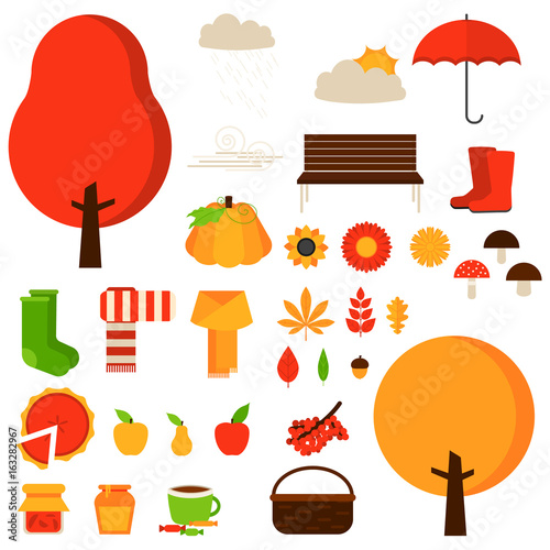 Set Of Autumn Fall Elements Or Symbols Vector Flat Icon Set And