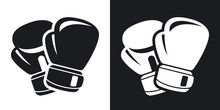 Vector Boxing Gloves Icon. Two-tone Version On Black And White Background