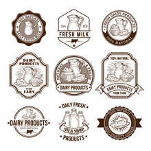 Set Of Vector Illustrations, Badges, Stickers, Labels, Stamps For Milk And Dairy Products For Packaging, Advertising And Grocery Stores