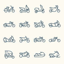 Motorcycles Line Icon Set
