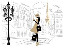 Girl In Paris Shopping Hand Dr...