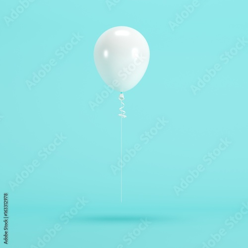 Foto op Canvas Ballon White Balloon Floating on blue background. minimal concept idea.