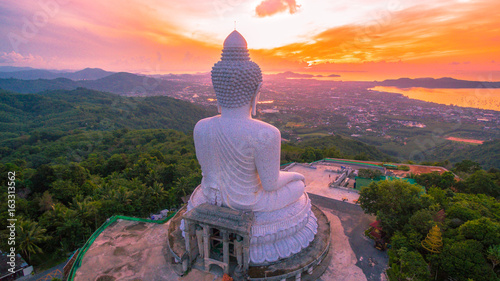 Tuinposter Boeddha aerial photography the white great Phuket's big Buddha in the morning..