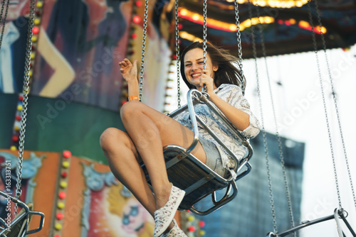 Photo  Swing Spining Amusement Carninal Enjoyment Concept
