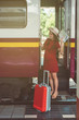 beautiful young asian Pregnant woman traveling alone at train station, vintage tone