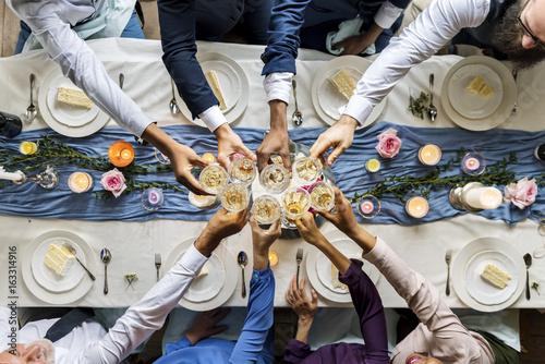 Fotografía Group of Diverse People Clinking Wine Glasses Together Congratulations Celebrati