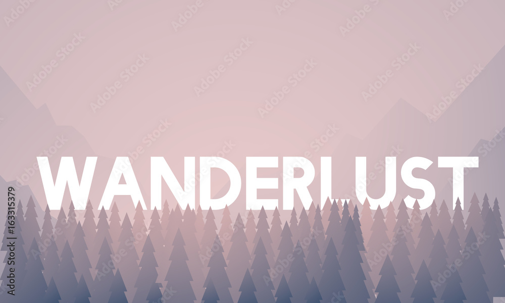 Fototapety, obrazy: Wanderlust word on nature background with trees