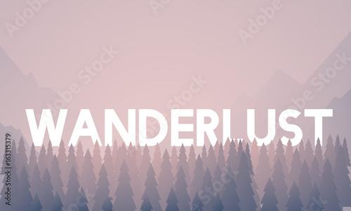 Obraz Wanderlust word on nature background with trees - fototapety do salonu