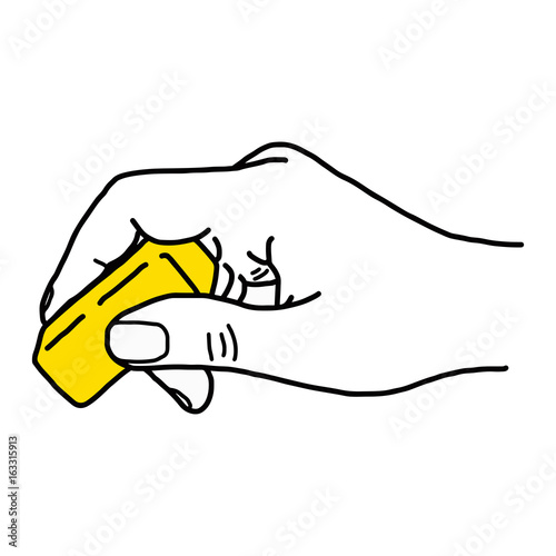 close up hand using yellow rubber eraser vector illustration sketch hand drawn with black lines isolated on white background buy this stock vector and explore similar vectors at adobe stock adobe stock