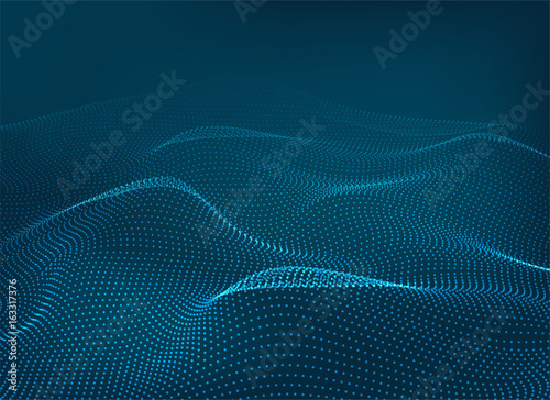 In de dag Abstract wave Dots wave blue 3d background