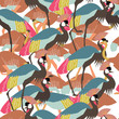 Summer seamless pattern with exotic large birds. Ostrich and crane vector pattern for fabric