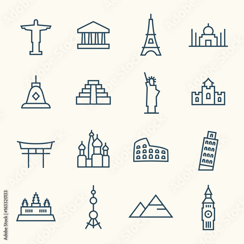 Foto  Travel landmarks line icon set