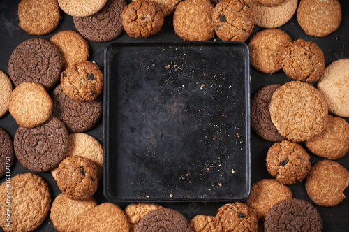 Various cookies and baking pan