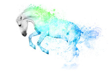 White Horse In Blue And Green Paint Stains