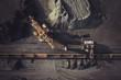 Leinwandbild Motiv Coal mining from above
