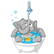 Elephant. Character. Taking A Bath. Big Collection Of Isolated Elephants. Vector, Cartoon.