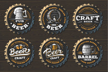 Set Beer Logo On Caps - Vector...