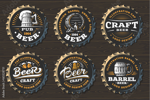 Photographie Set beer logo on caps - vector illustration, emblem brewery design on black back